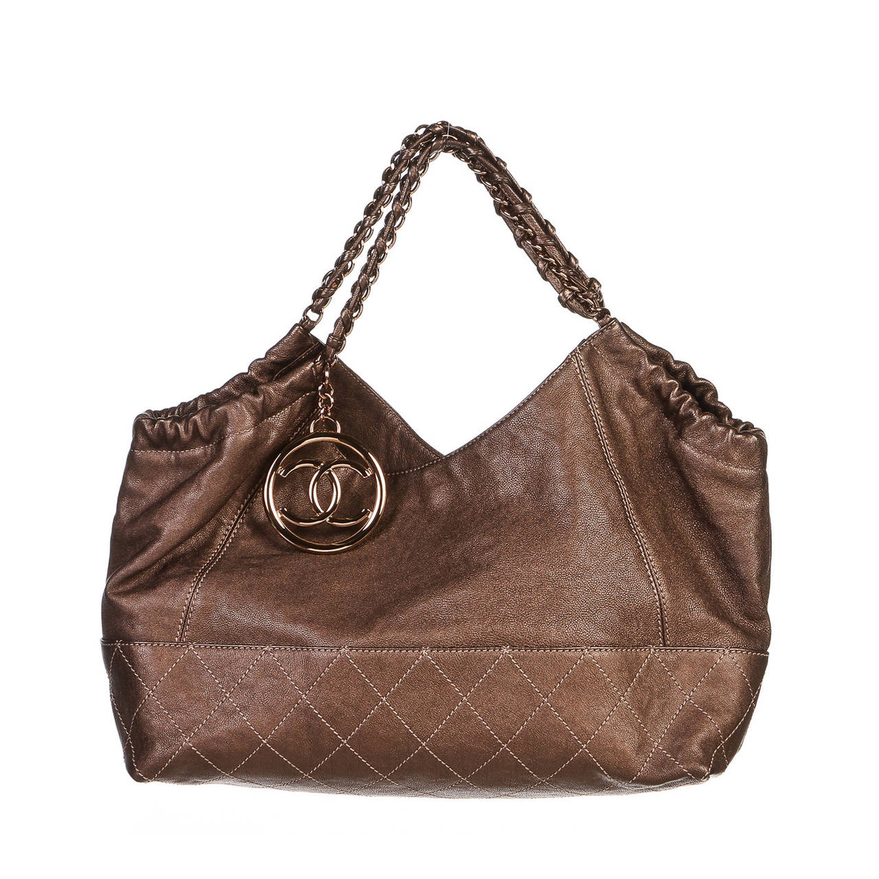 chanel bronze quilted calfskin baby coco cabas handbag at