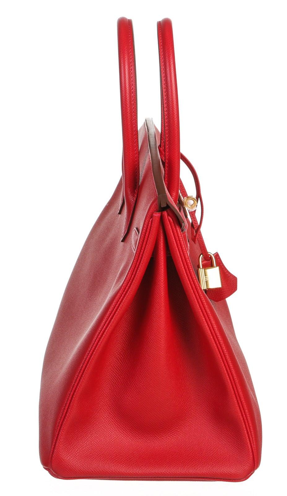 Hermes Red Epsom Leather 35cm Birkin Handbag GHW at 1stdibs