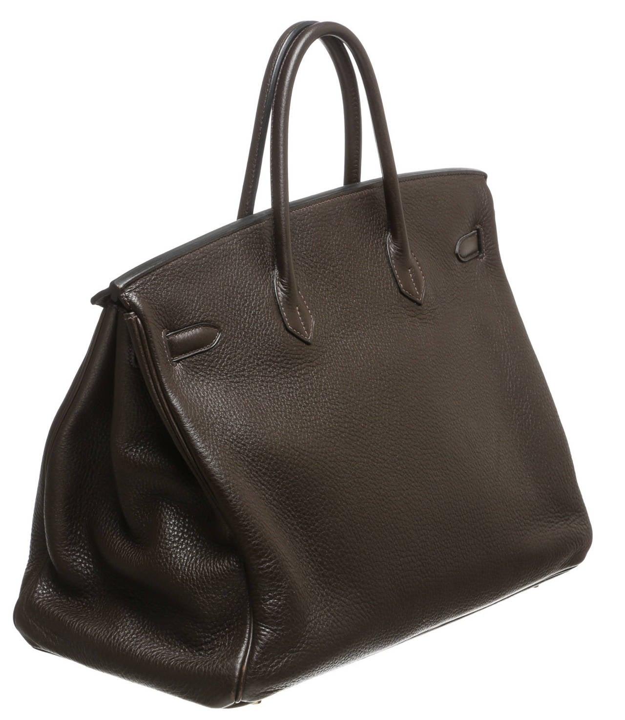 Hermes Brown Clemence Leather 40cm Birkin Handbag GHW at 1stdibs
