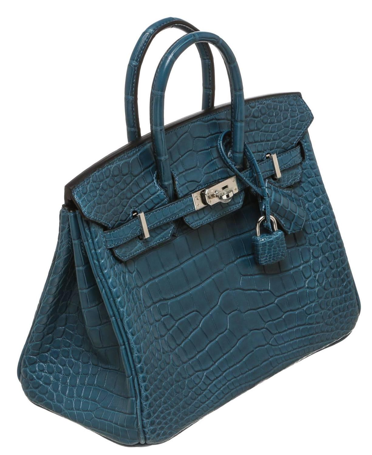 Hermes Colvert (Blue) Birkin 25cm Alligator Handbag PHW NEW at 1stdibs