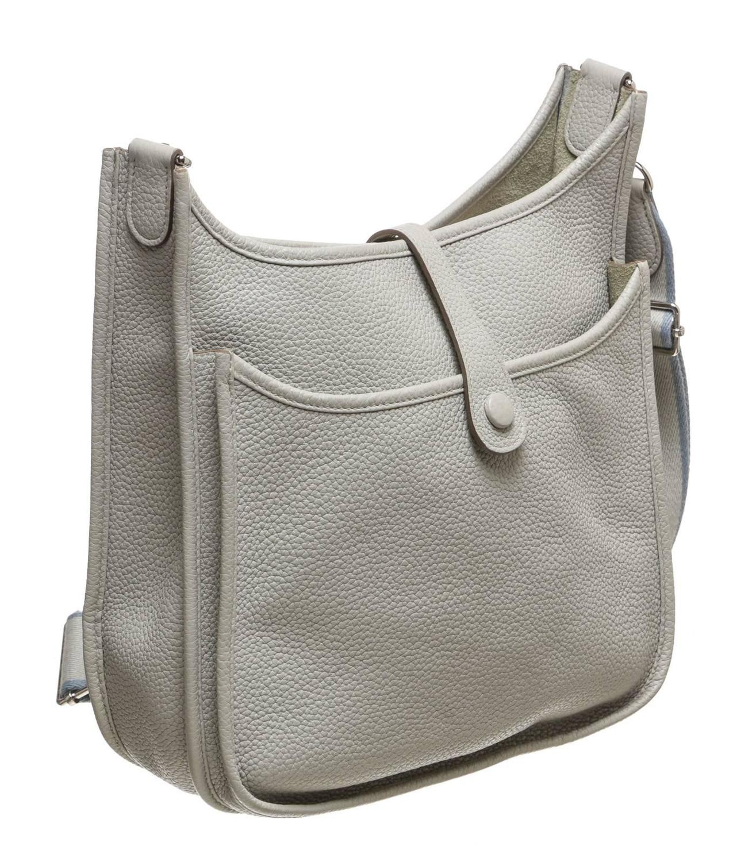Hermes Gray Clemence Leather Evelyne III Messenger Handbag at 1stdibs