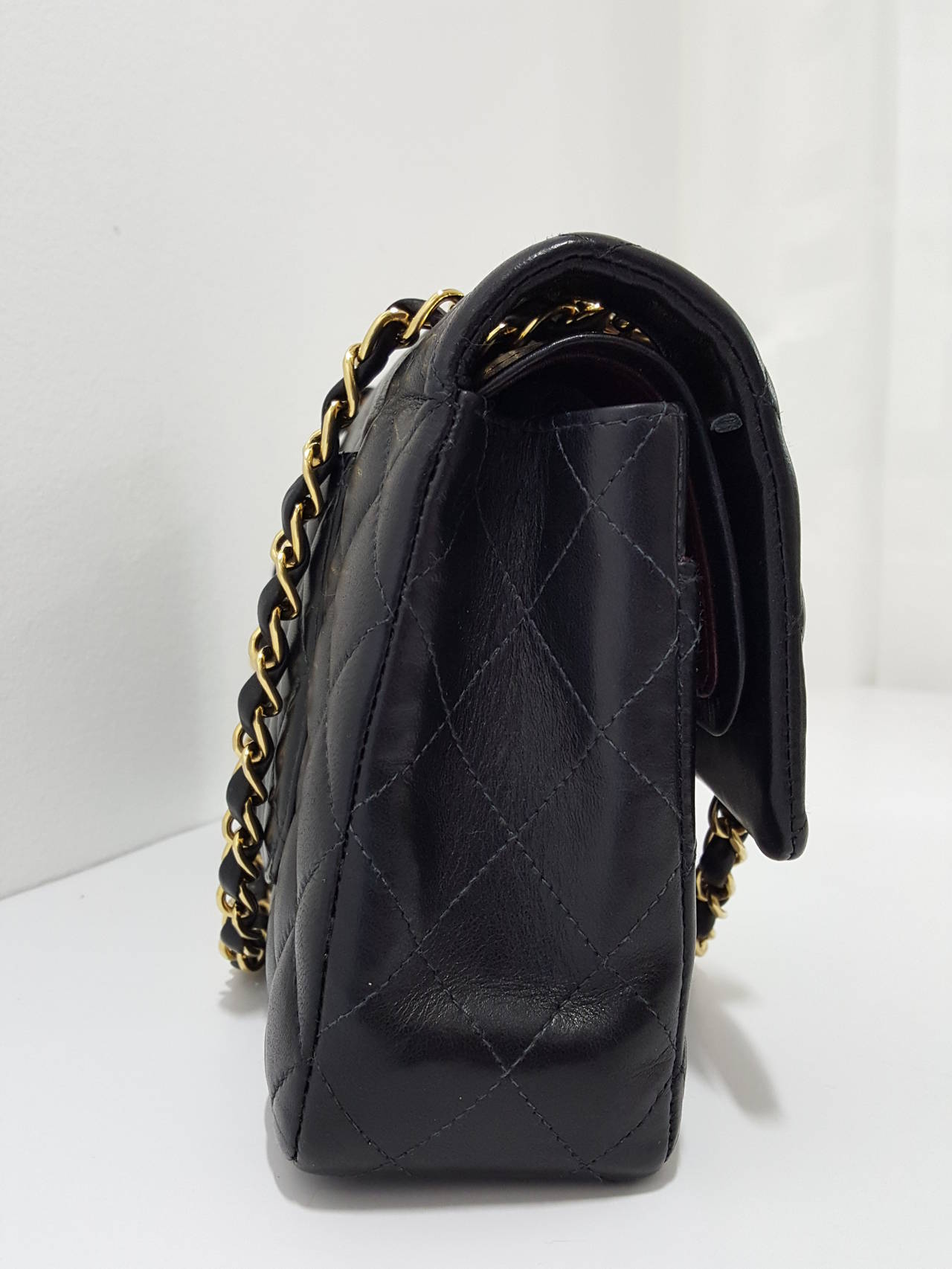 "Chanel Black Lambskin 10"" Classic Double Flap Handbag W/Gold Hardware In Excellent Condition For Sale In Delray Beach, FL"