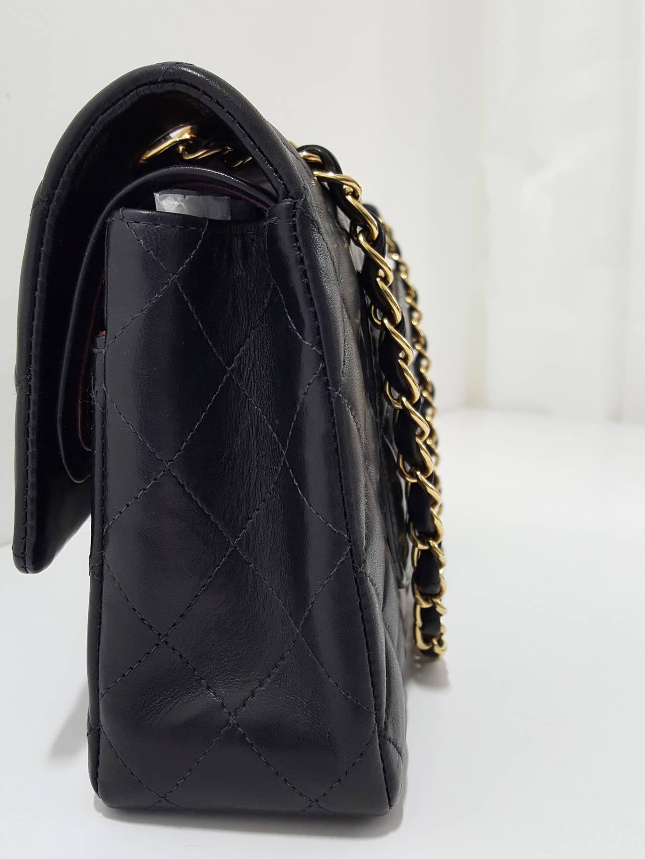 "Chanel Black Lambskin 10"" Classic Double Flap Handbag W/Gold Hardware 4"
