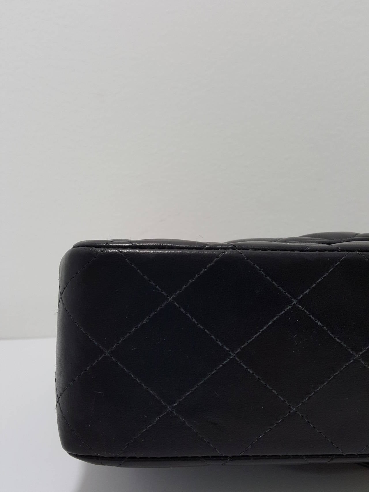 "Chanel Black Lambskin 10"" Classic Double Flap Handbag W/Gold Hardware For Sale 1"