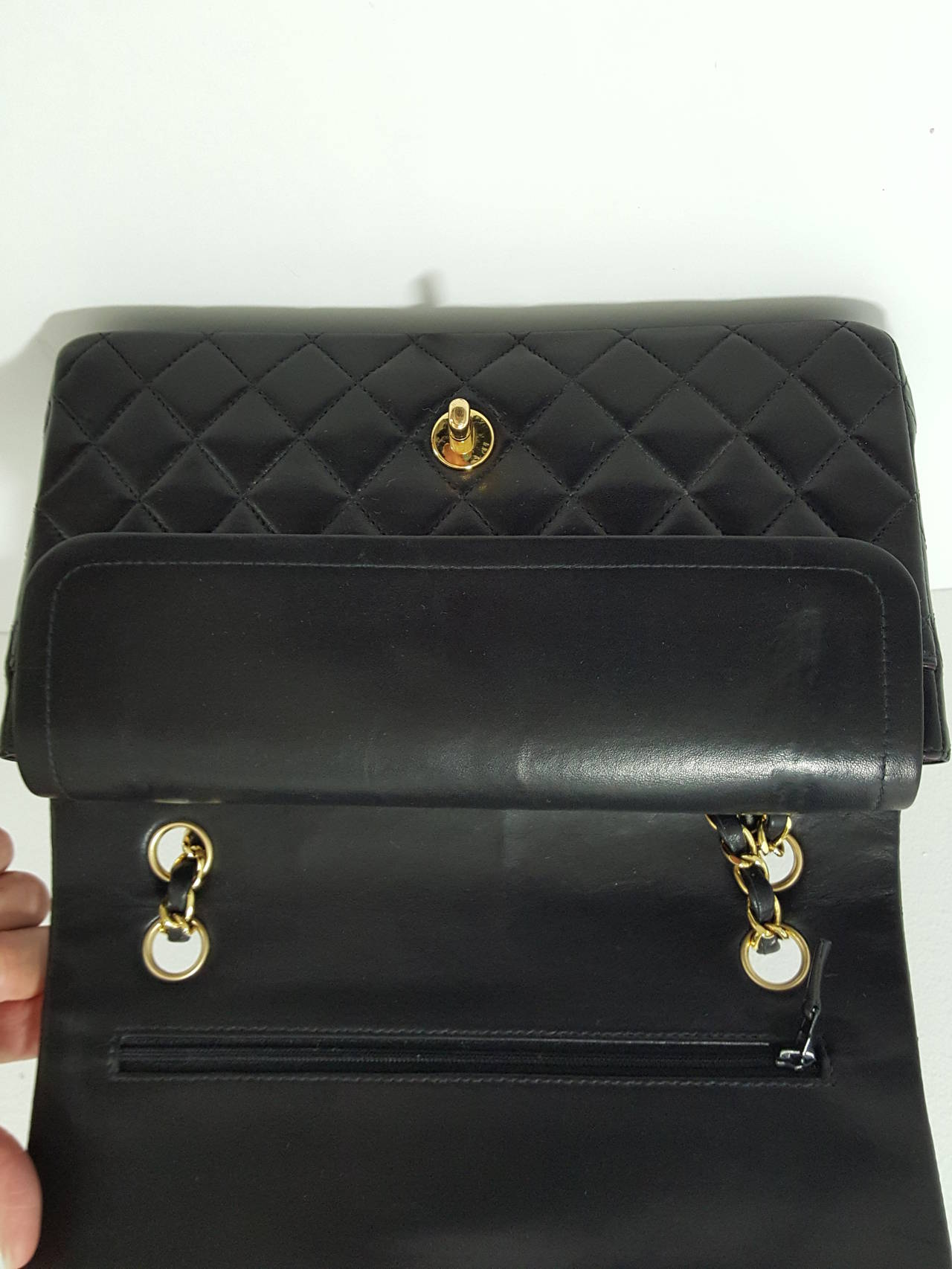 "Chanel Black Lambskin 10"" Classic Double Flap Handbag W/Gold Hardware For Sale 3"