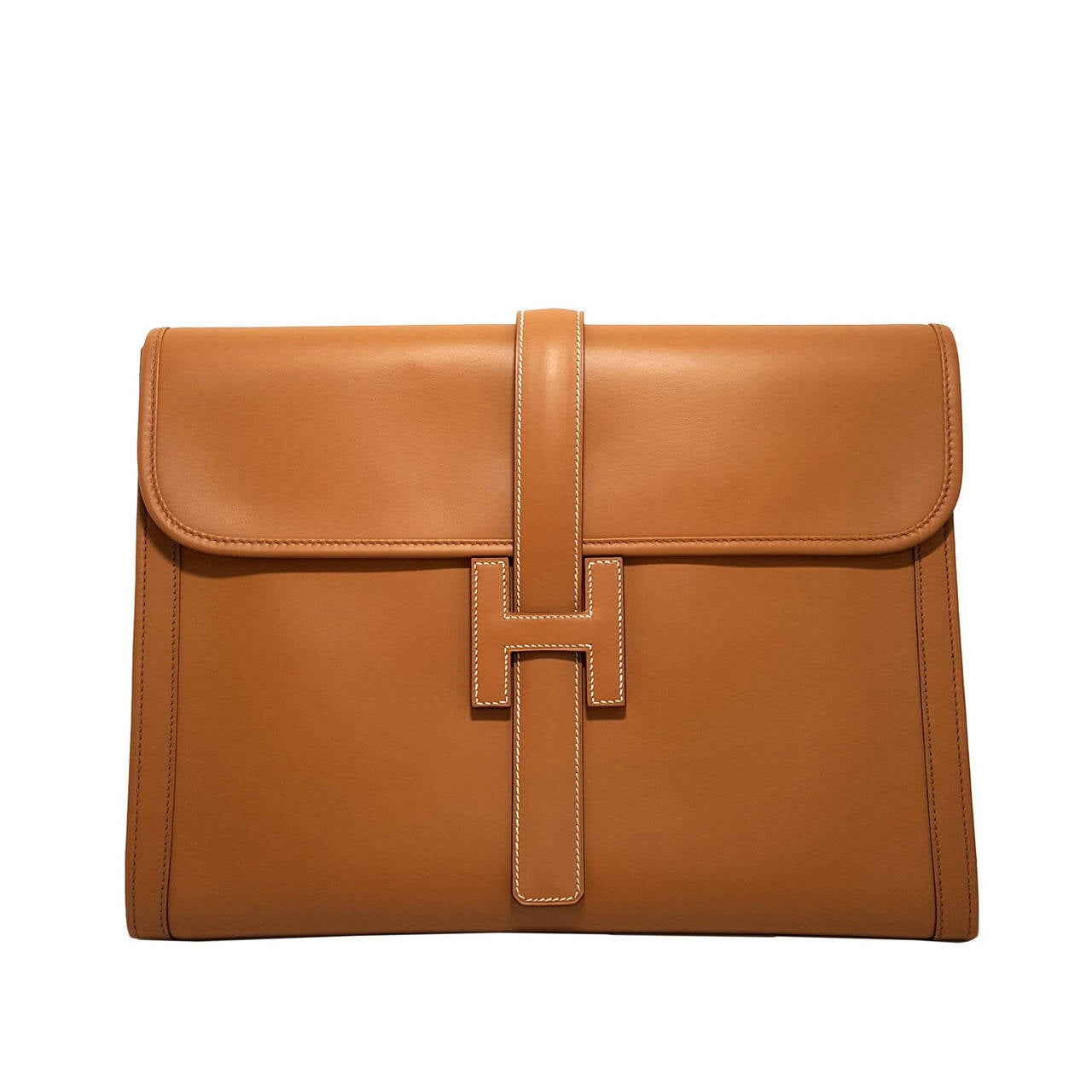 HERMES Large Golden Jige Clutch in perfect Condition. For Sale