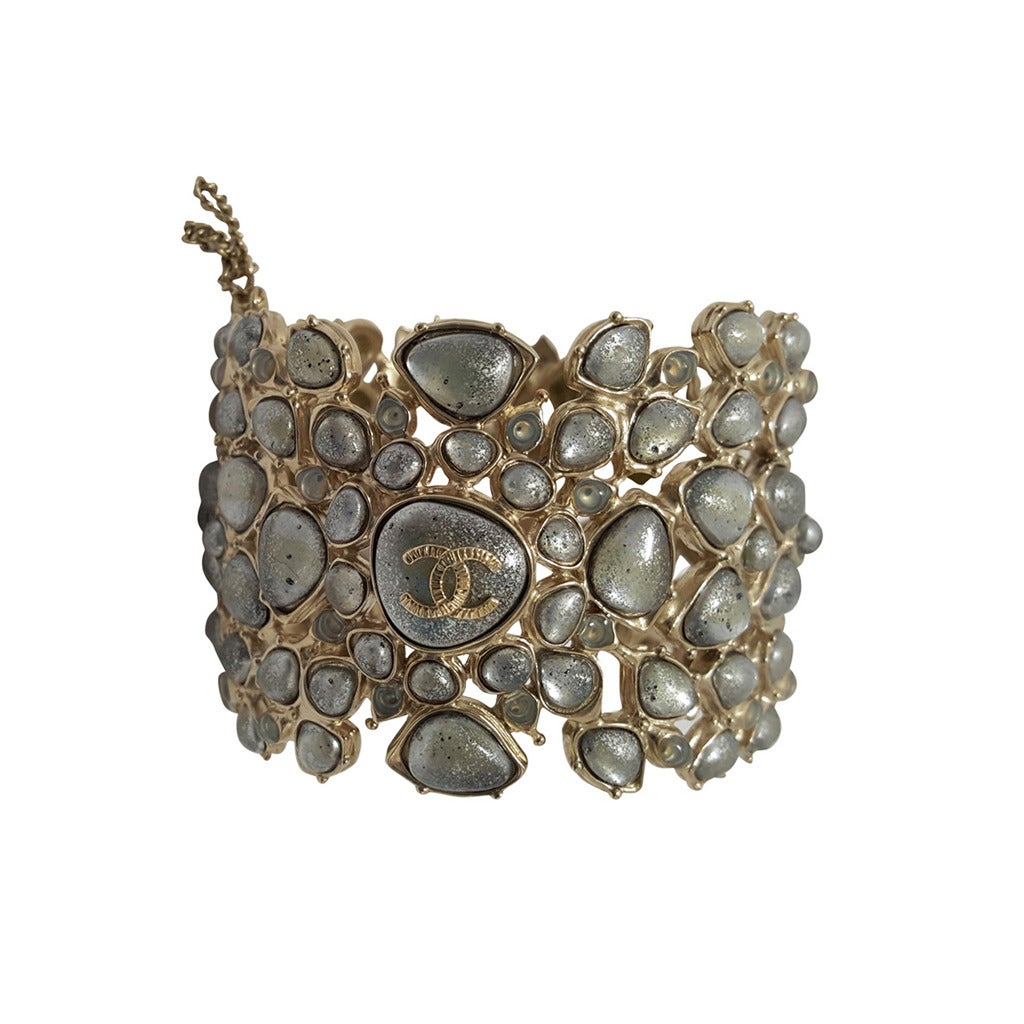 Rare Chanel Poured Pearl Hinged Cuff With Original Tags From 2012. For Sale