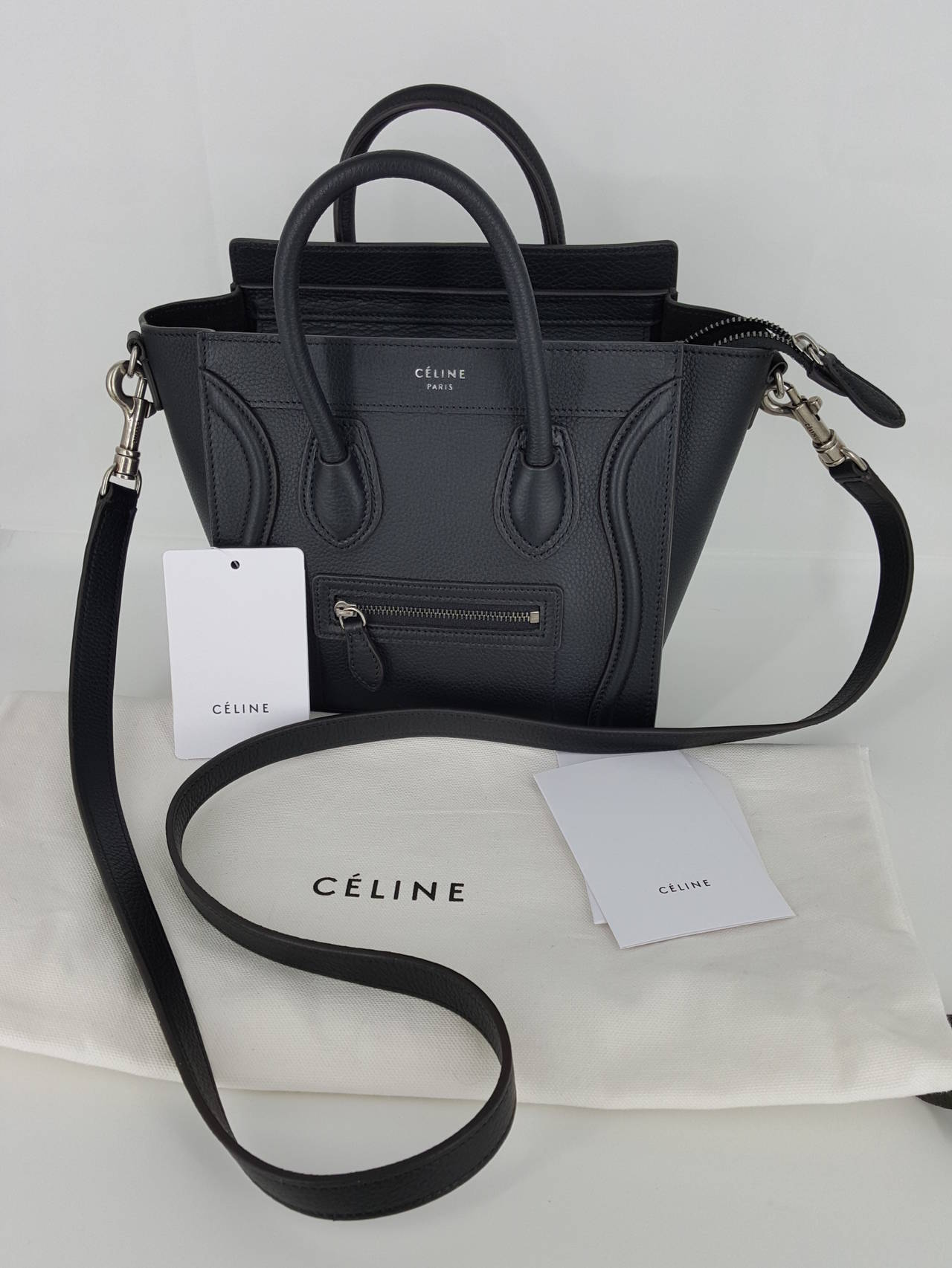 New Celine Nano Bag In Hard To Get Black Pebble Leather at 1stdibs