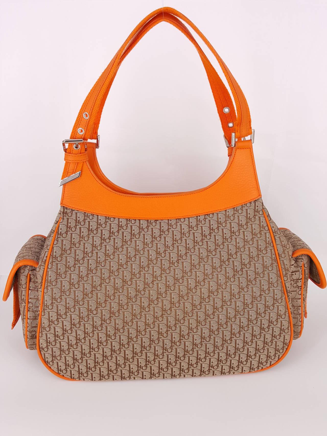Dior Dior Fun diorissimo Shoulder Bag In Orange And Dior Logo Fabric wKO3Bc