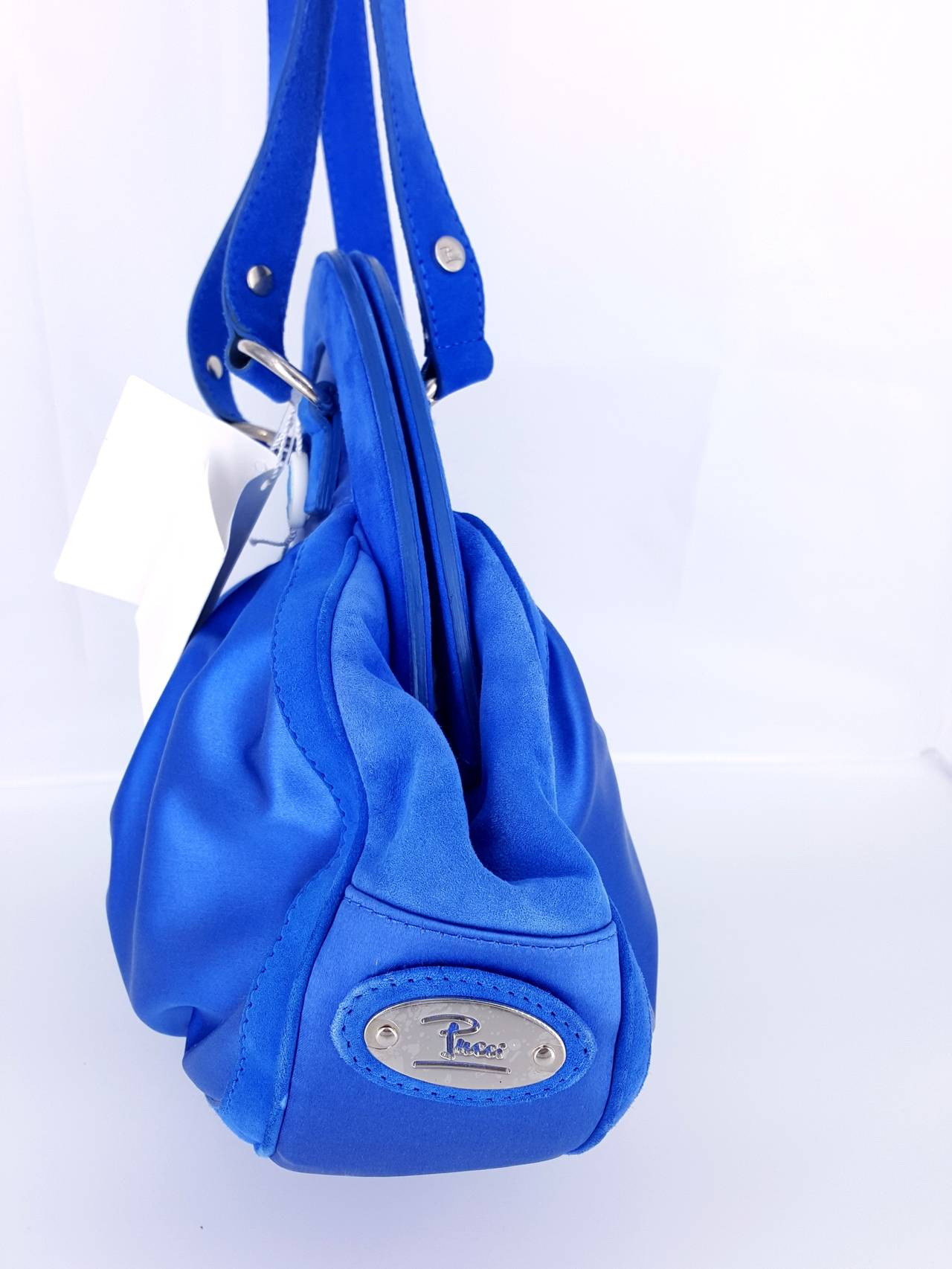 Pucci Cobalt Blue Satin And Suede Shoulder Bag - NWT  Great Color! In New Never_worn Condition For Sale In Delray Beach, FL