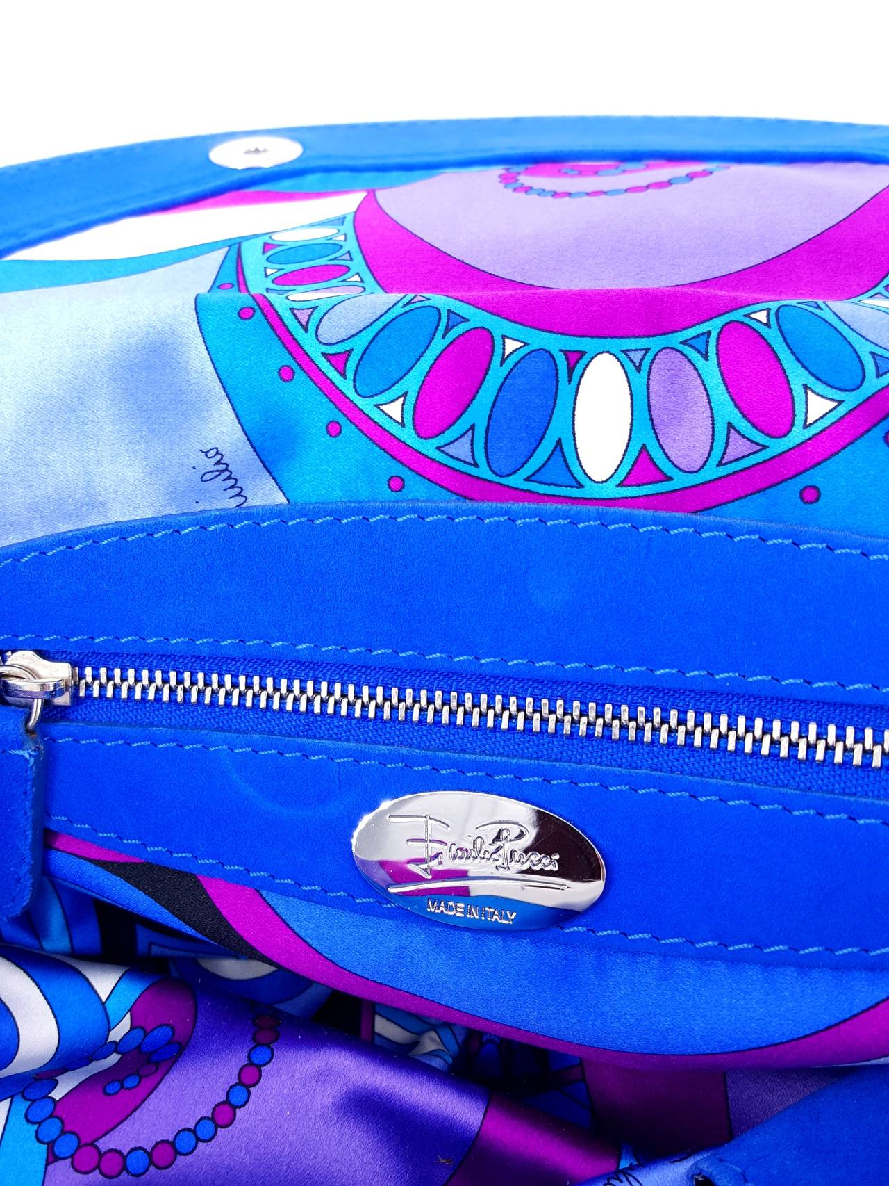 Pucci Cobalt Blue Satin And Suede Shoulder Bag - NWT  Great Color! For Sale 2