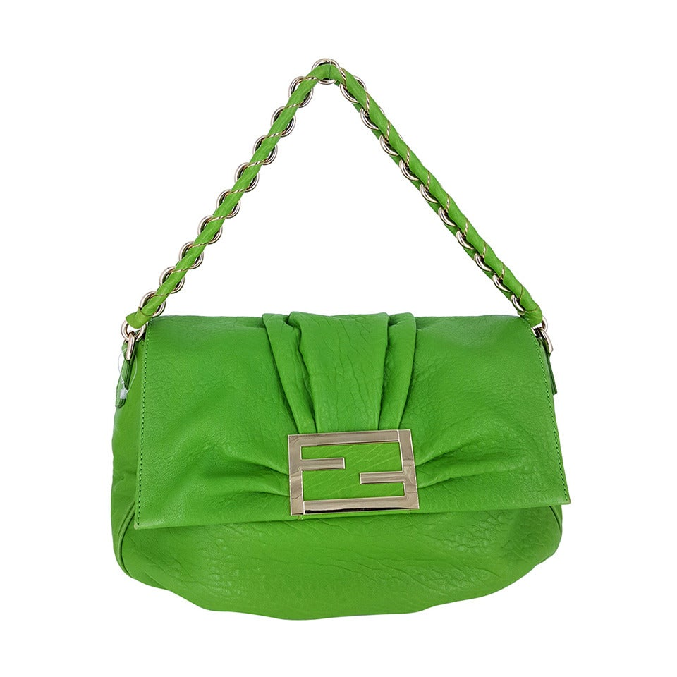 FENDI Kelly Green Leather Shoulder Bag With Silver Hardware.