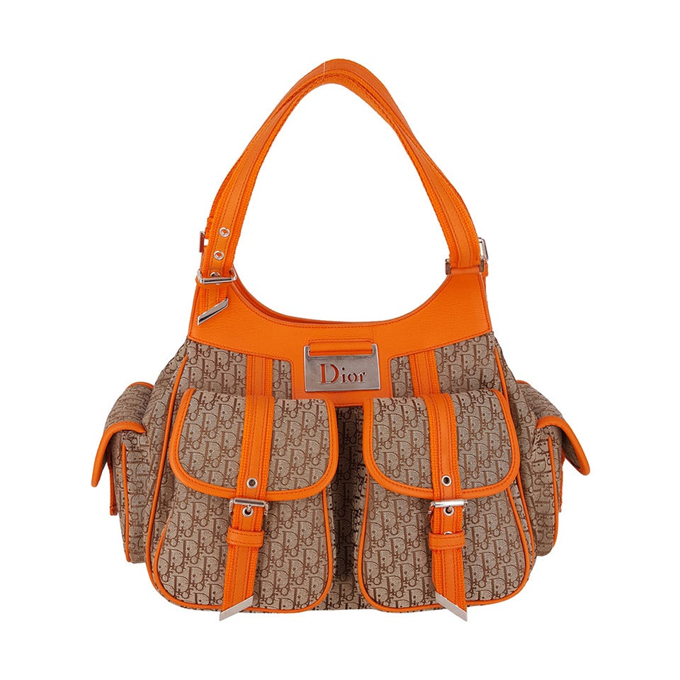 "Dior fun ""Diorissimo""  Shoulder Bag In Orange And Dior Logo Fabric."