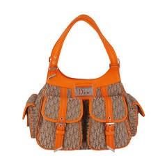 "Dior fun ""Diorissimo""  Shoulder Bag In Orange And Dior Logo Fabric."