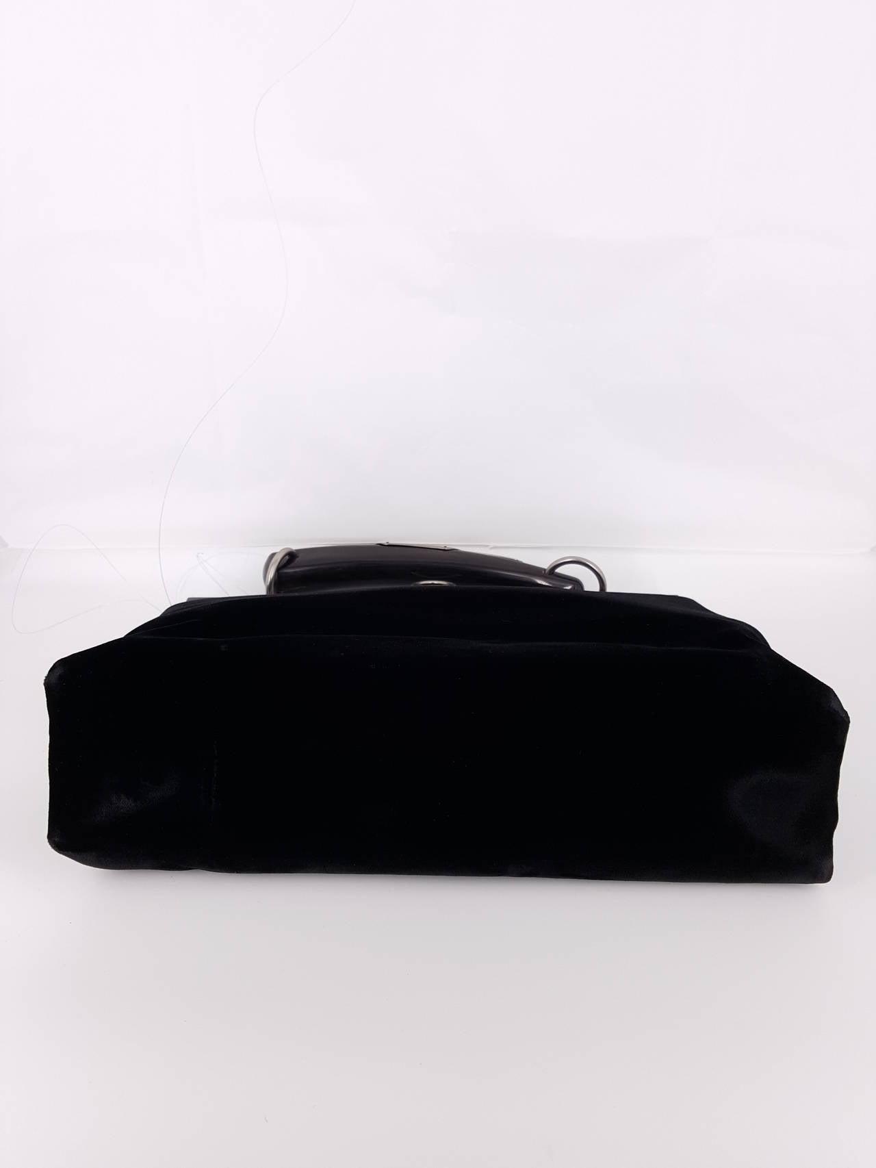 YSL Limited Edition Black Velvet Mombasa Handbag With Lucite Horn ...