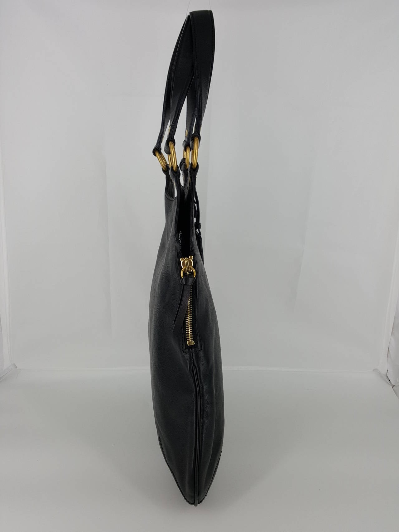 Women's YSL Yves Saint Laurent Black Leather Tribute Bag. For Sale
