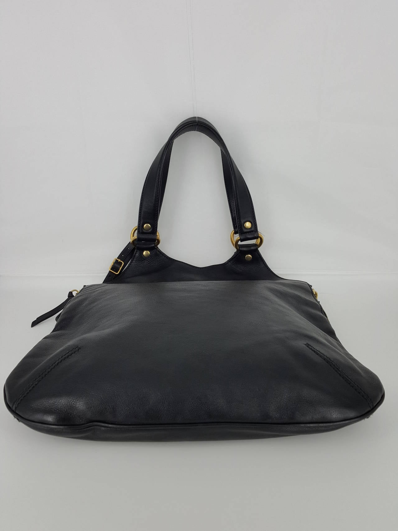 YSL Yves Saint Laurent Black Leather Tribute Bag. For Sale 1