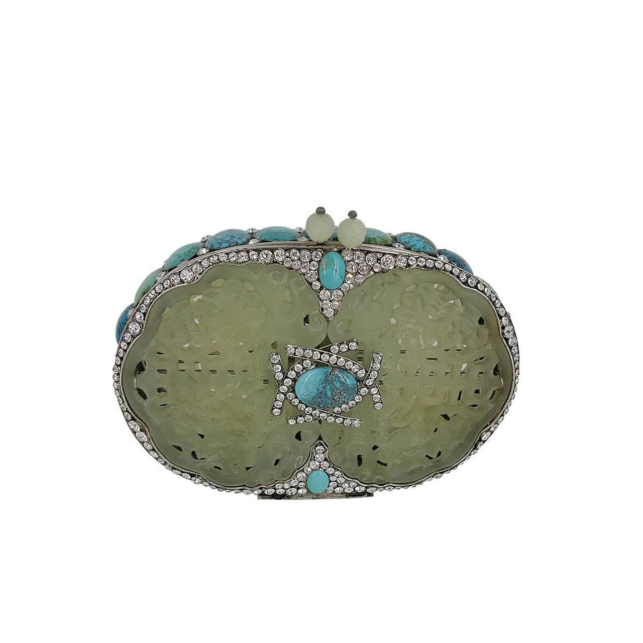 Rare Iradj Moini Minaudiere In Carved Jade, Turquoise, and Rhinestones.