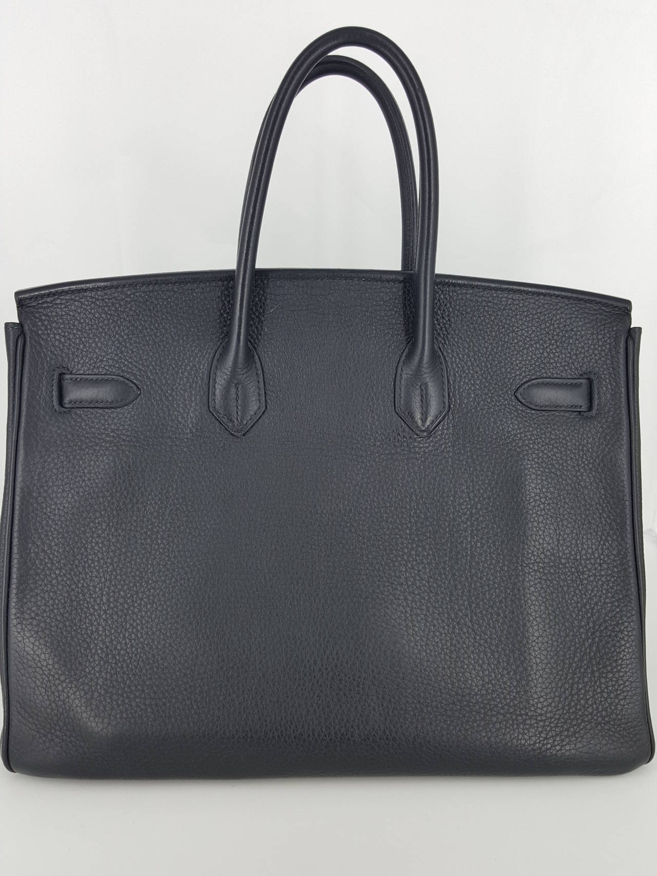 HERMES Birkin 35 CM In Black Clemence Leather With Palladium Hardware. 2