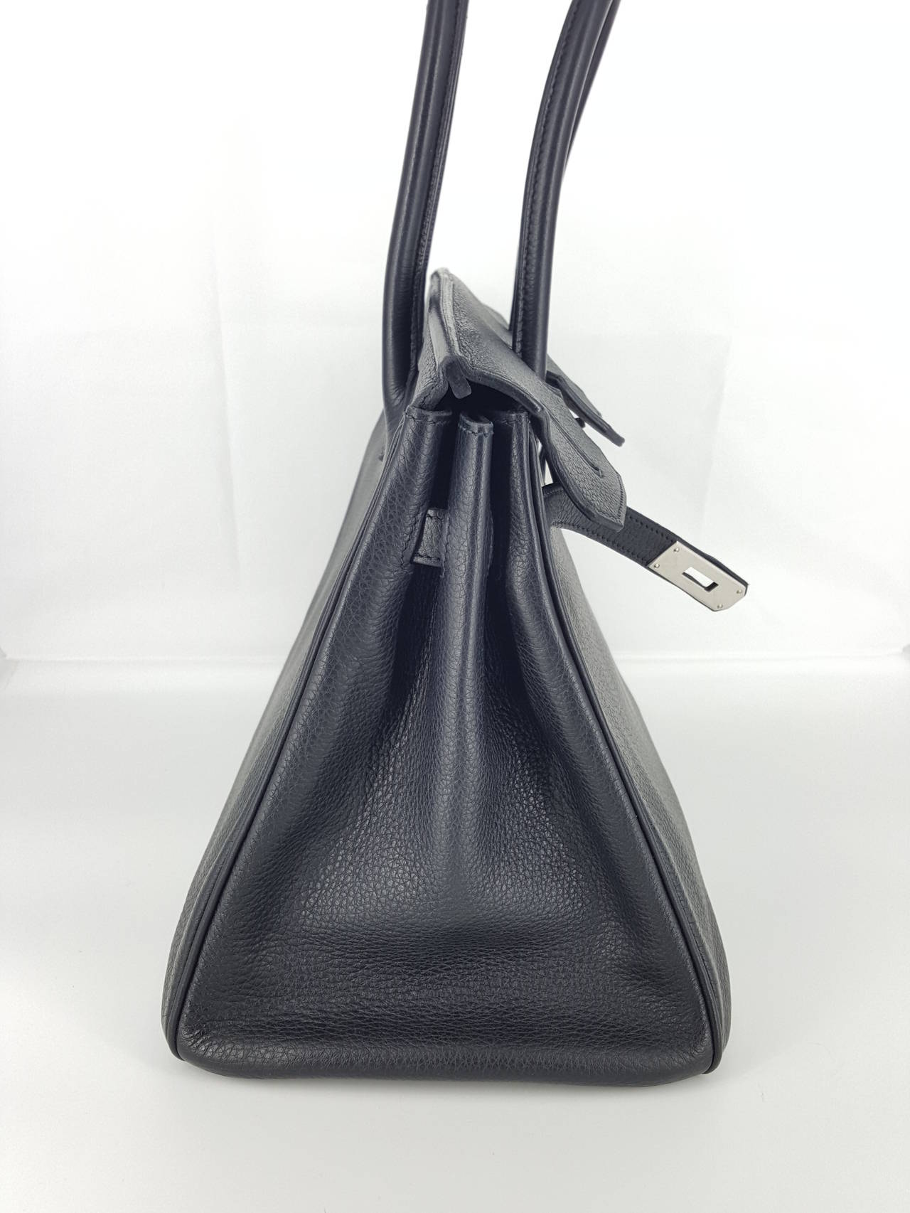 Gray HERMES Birkin 35 CM In Black Clemence Leather With Palladium Hardware. For Sale