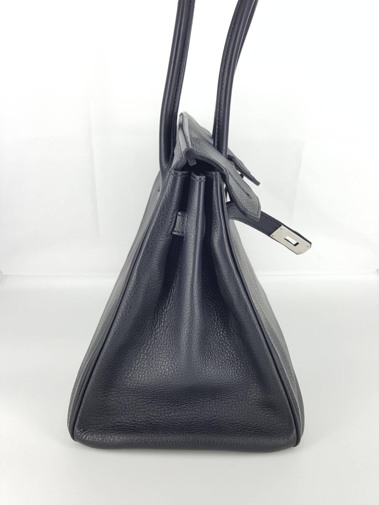 HERMES Birkin 35 CM In Black Clemence Leather With Palladium Hardware. 3