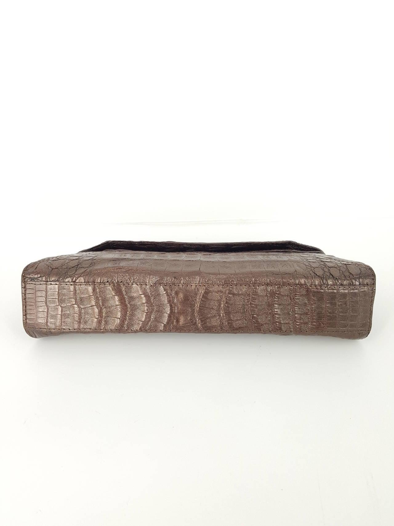 Nancy Gonzalez Shimmery Bronze Crocodile Clutch 5