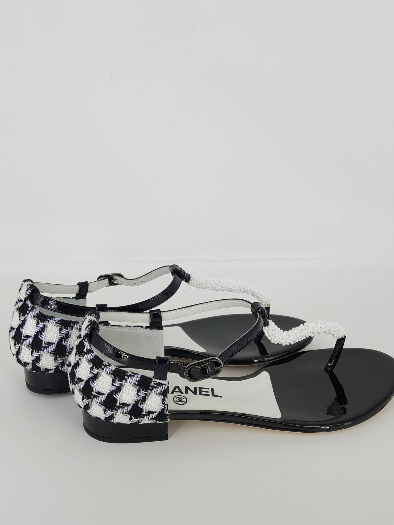 chanel black and white patent leather and boucle sandals