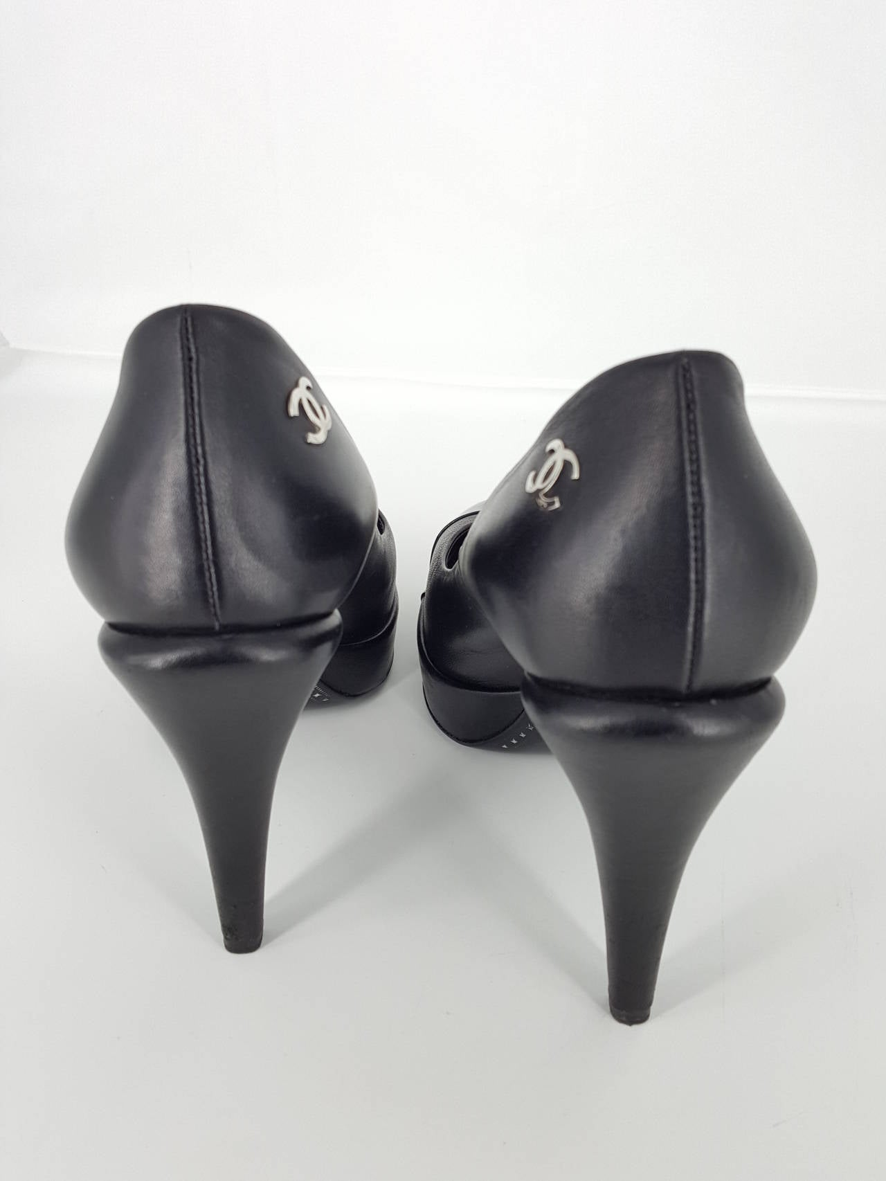 Chanel Black Leather Platform Heels With Patent Leather Toe Cap. size 38 4