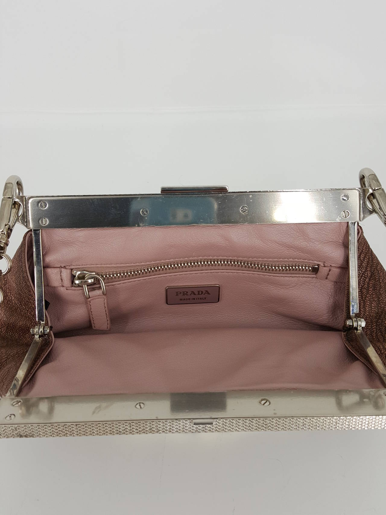 Prada Limited Edition Leather And Python Trim Pochette With ...