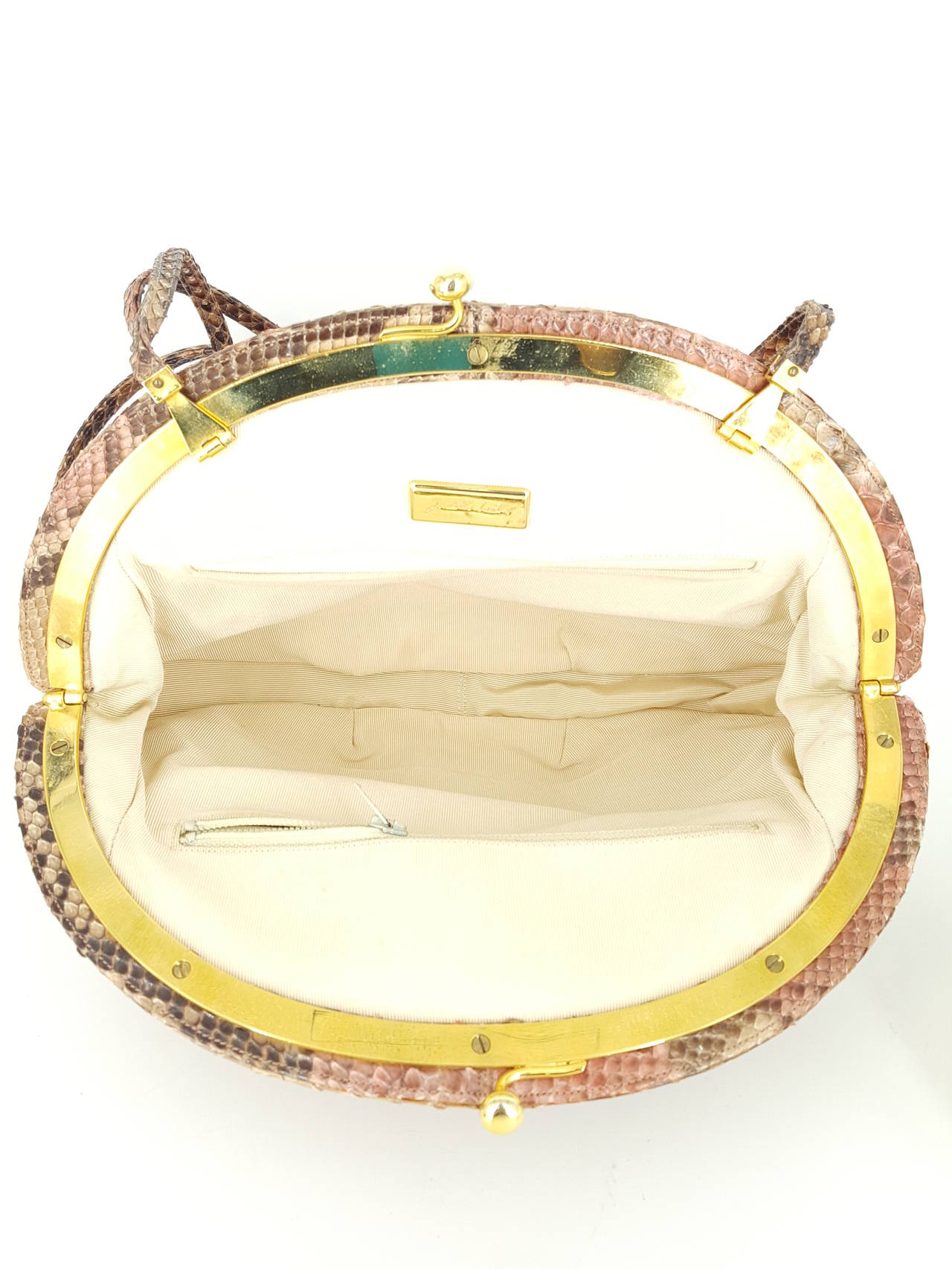 Judith Leiber Clutch/Shoulder Bag in Tan, Brown, And Pink Python In Excellent Condition For Sale In Delray Beach, FL