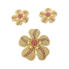 Vintage Ciner Amber Flower Crystal Brooch And Earrings Demi-parure.