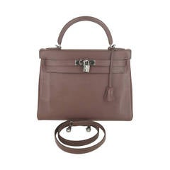 HERMES Chocolate Brown 32 Cm Kelly Bag With Rare Ruthenium Hardware.