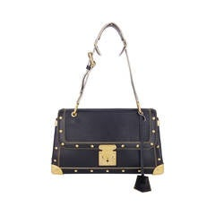Louis Vuitton Black Suhali Le Talentueux Handbag With Gold Hardware.