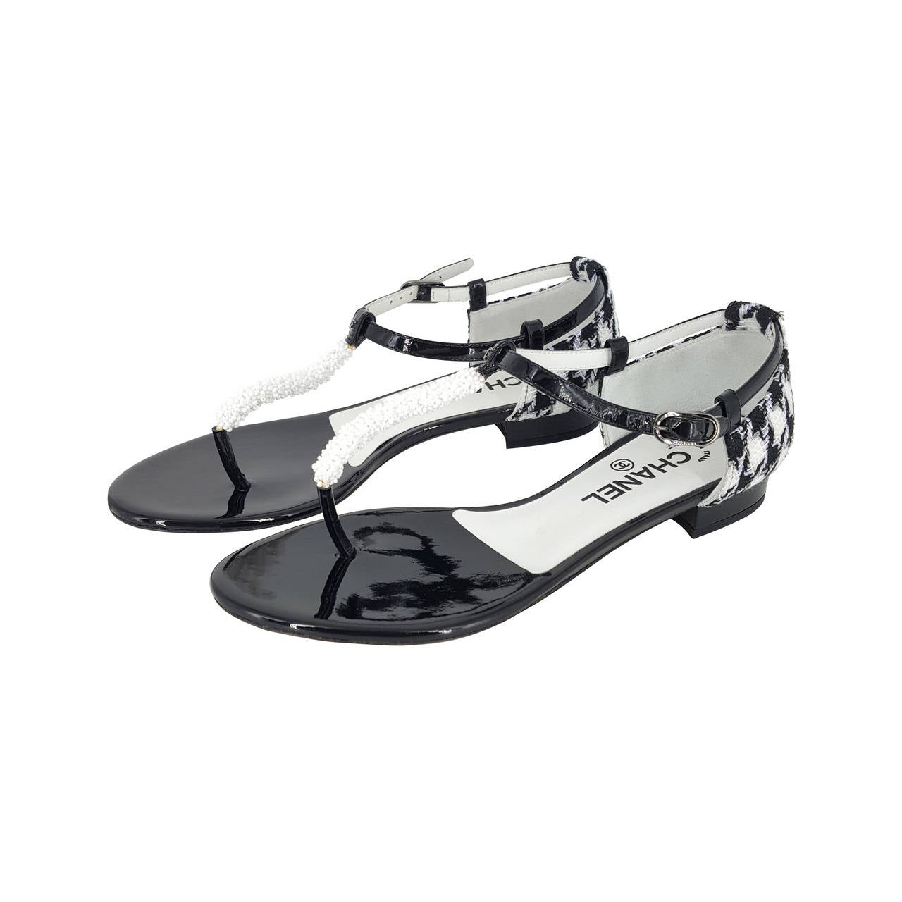 New Acura Dealership In Delray Beach Fl 33483: CHANEL Black And White Patent Leather And Boucle Sandals