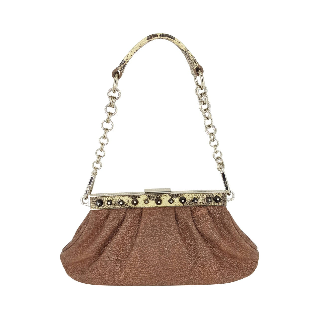 Prada Limited Edition Leather And Python Trim Pochette With Crystal Studs.