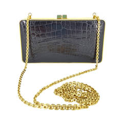 Judith Leiber Shiney Black Alligator Evening Bag/Clutch With Gold Chain.