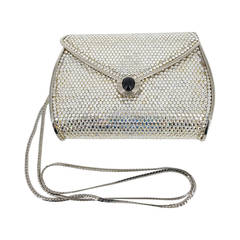 Judith Leiber Crystal Minaudiere With a Black Onyx Cabochon on the Clasp