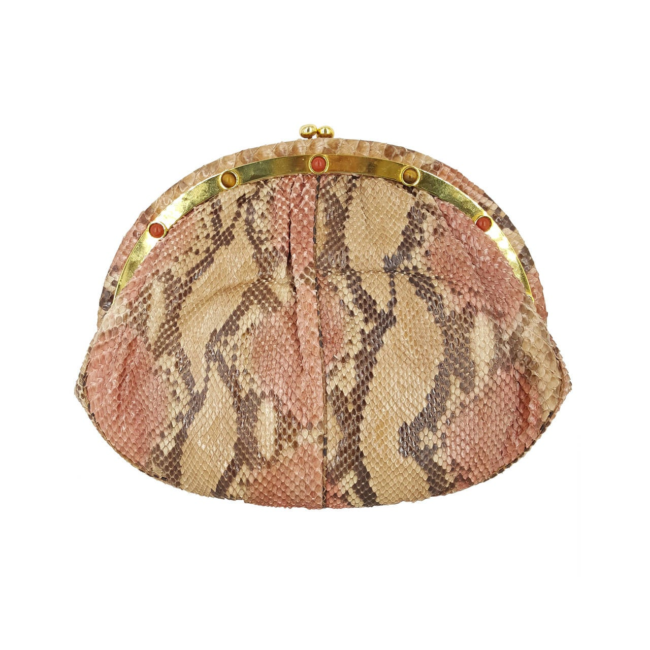 Judith Leiber Clutch/Shoulder Bag in Tan, Brown, And Pink Python For Sale