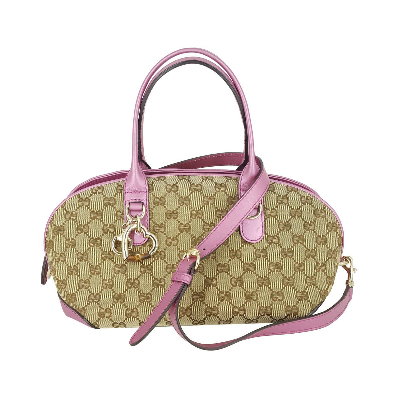 "Gucci ""GG"" Bamboo Heart Medium Satchel with Strap."