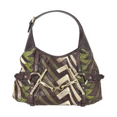 GUCCI Python 85th Anniversary Hobo Bag in Brown, Green and Beige skin.
