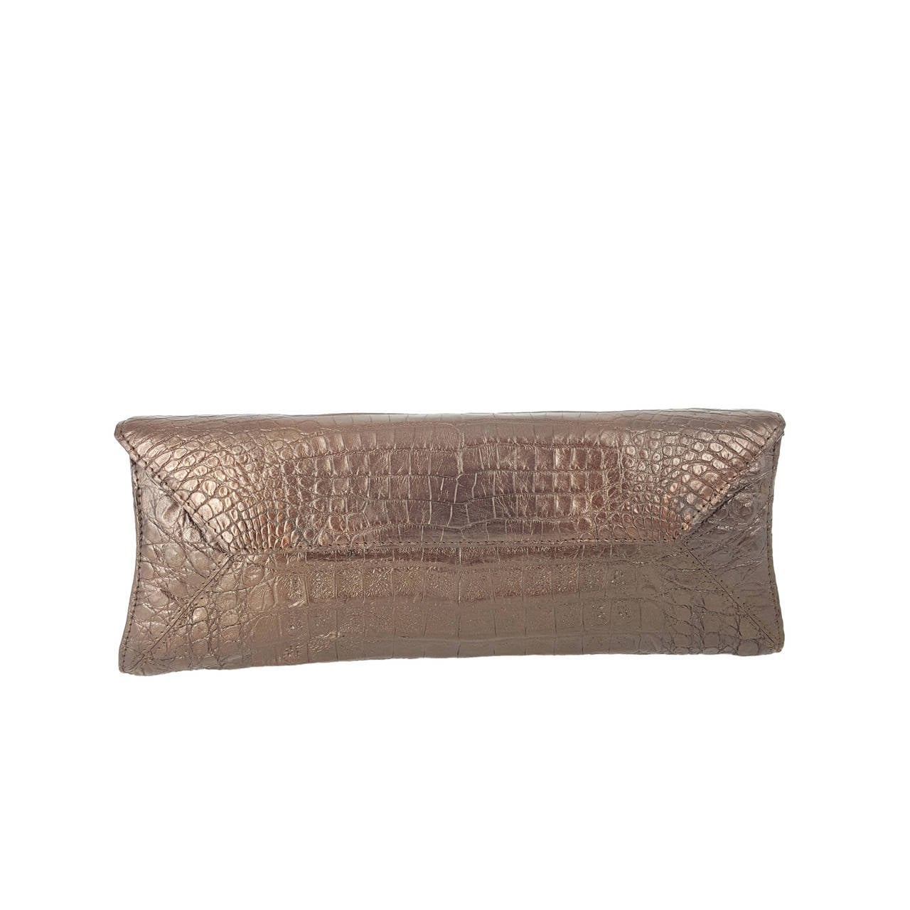 Nancy Gonzalez Shimmery Bronze Crocodile Clutch