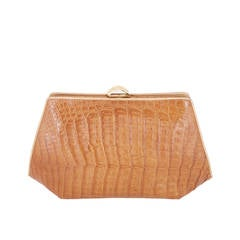 Rare Vintage Donna Karan Of New York Large Caiman Crocodile Clutch.