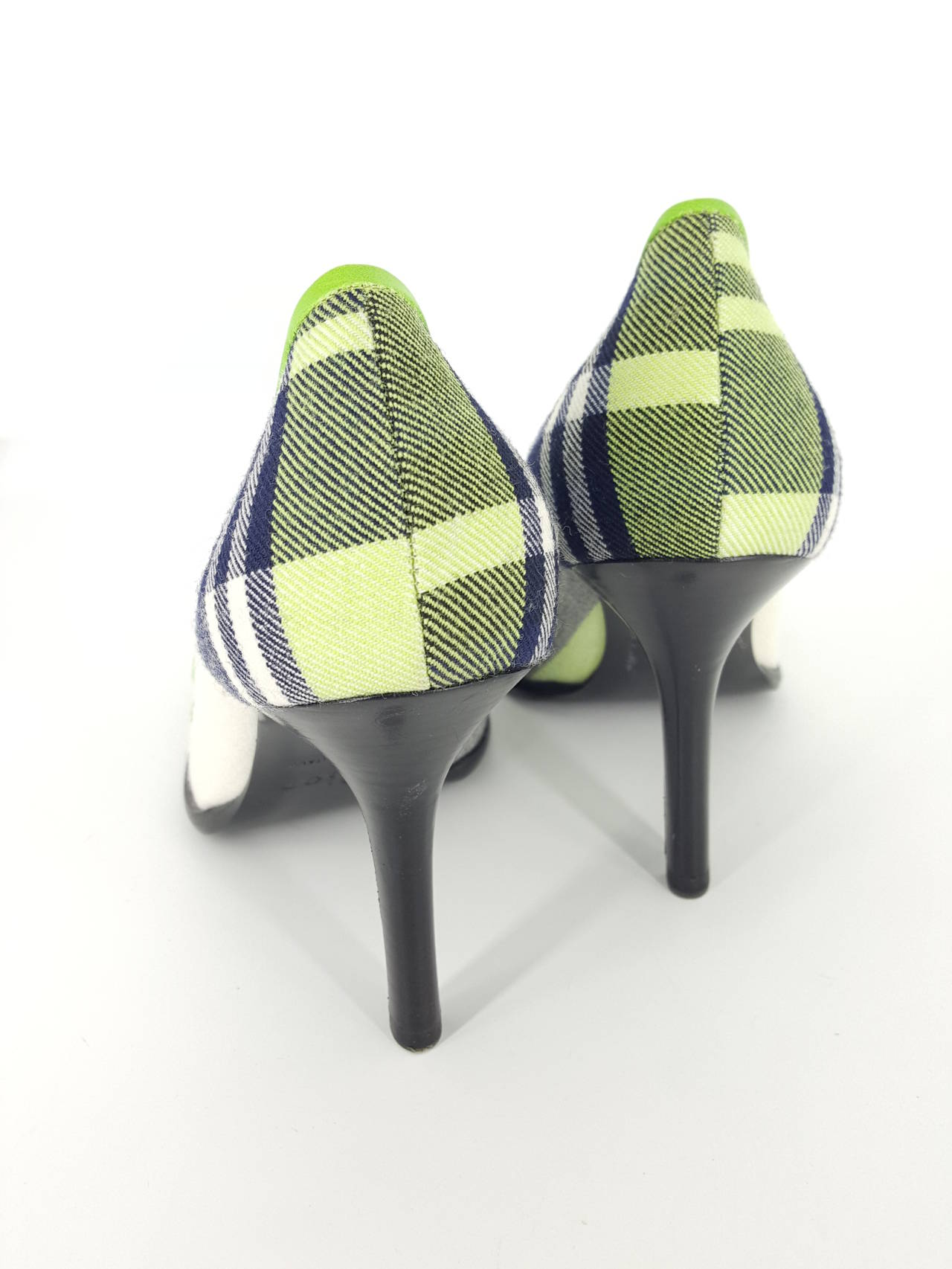 Green Christian Dior Vibrant Plaid Flannel Pumps in size 36 1/2 For Sale