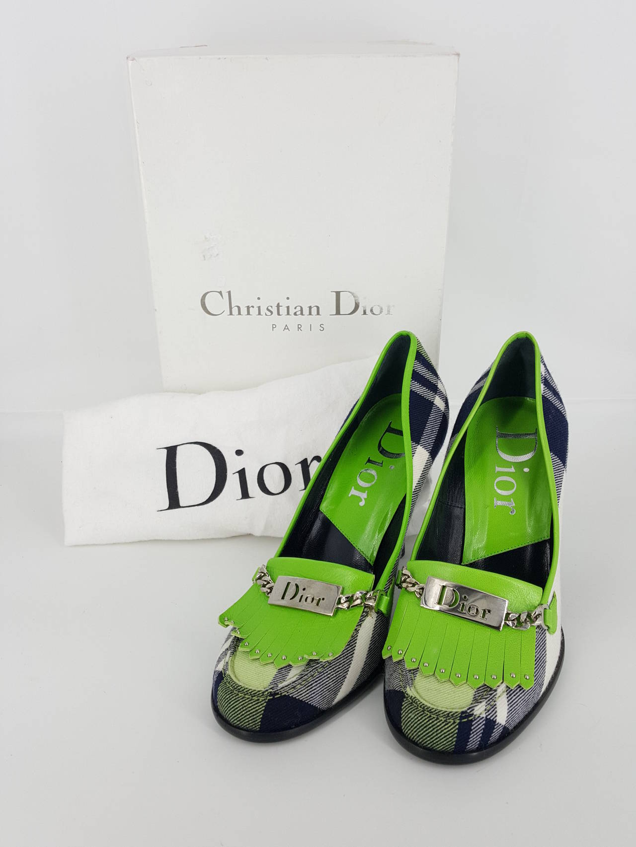 Women's Christian Dior Vibrant Plaid Flannel Pumps in size 36 1/2 For Sale