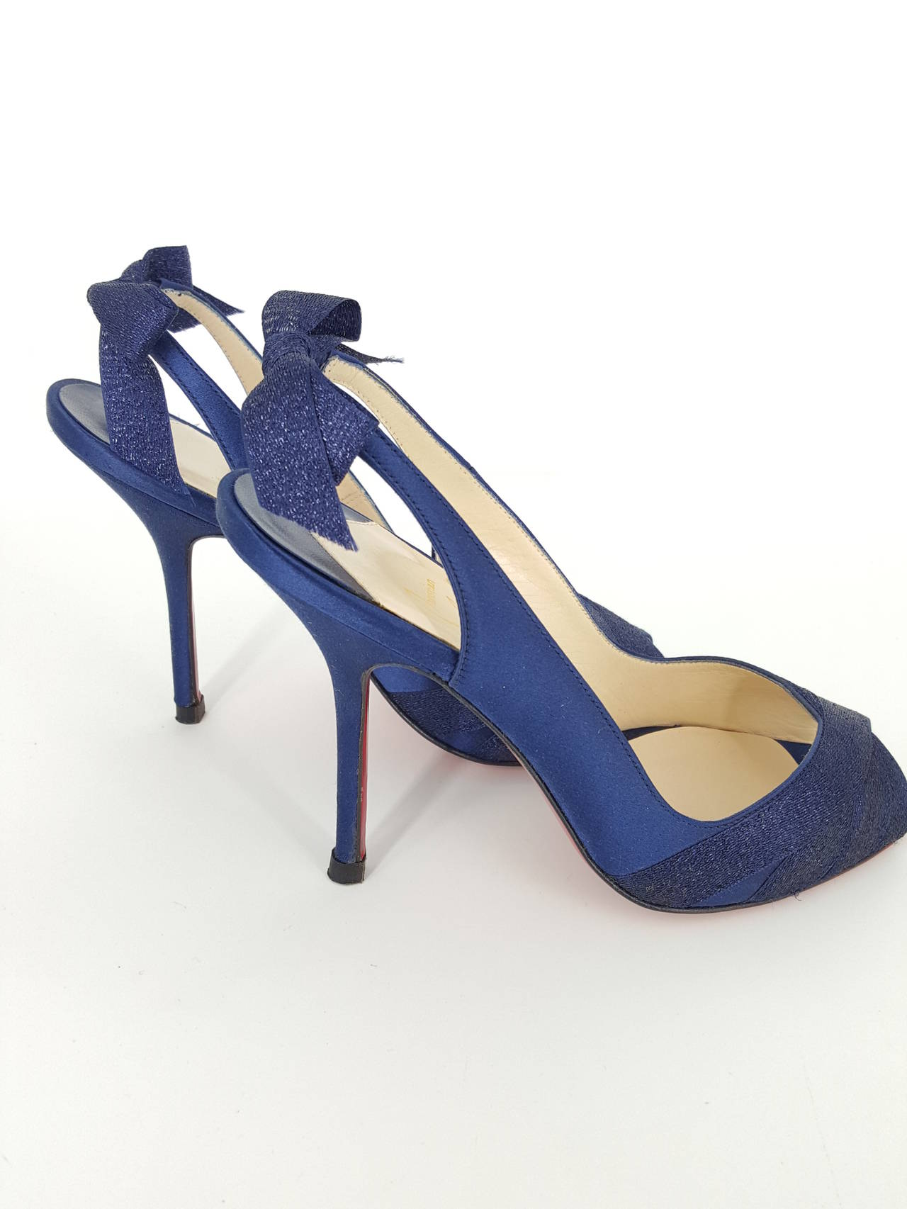 Christian Louboutin Navy Blue Sparkle Sling Back Heels With Bow.  Size 36 2