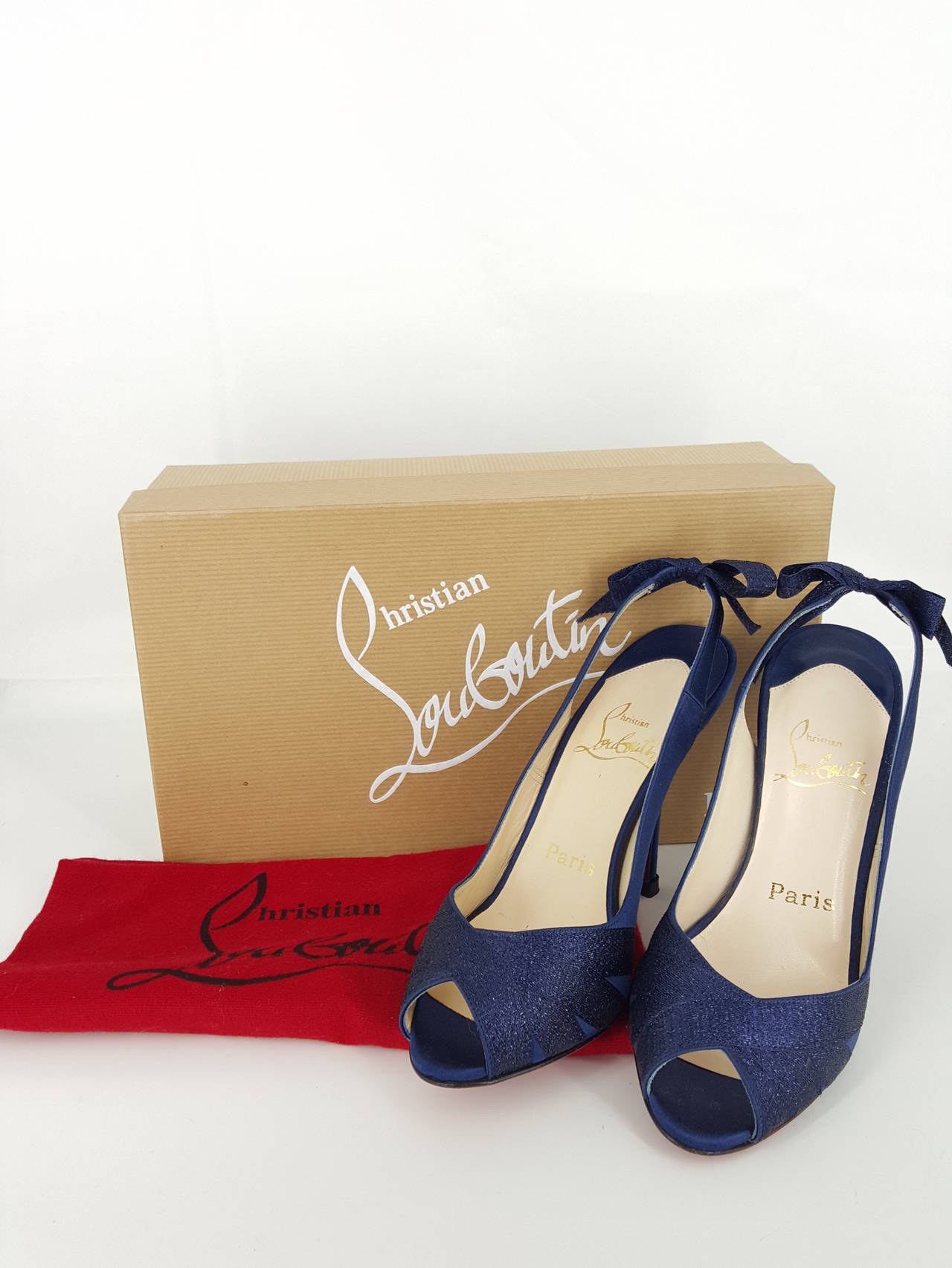 Christian Louboutin Navy Blue Sparkle Sling Back Heels With Bow.  Size 36 5