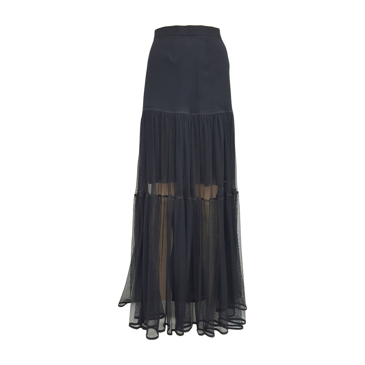 CHANEL Black Woven Silk Dramatic Long Flowing Semi Sheer Skirt.