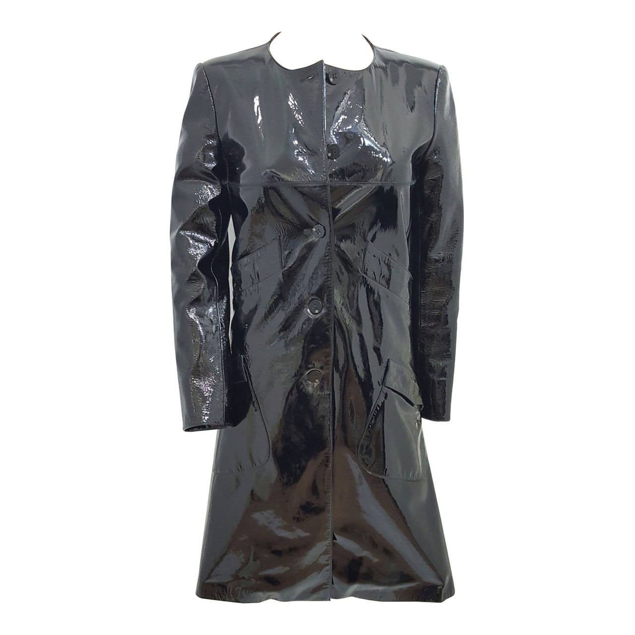 CHANEL Black Patent Leather Rain Coat With Sheered Rabbit Lining. Size 34