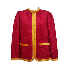 Vintage YSL Quilted Red Silk Jacket With Yellow Trim And Bakelite Buttons.