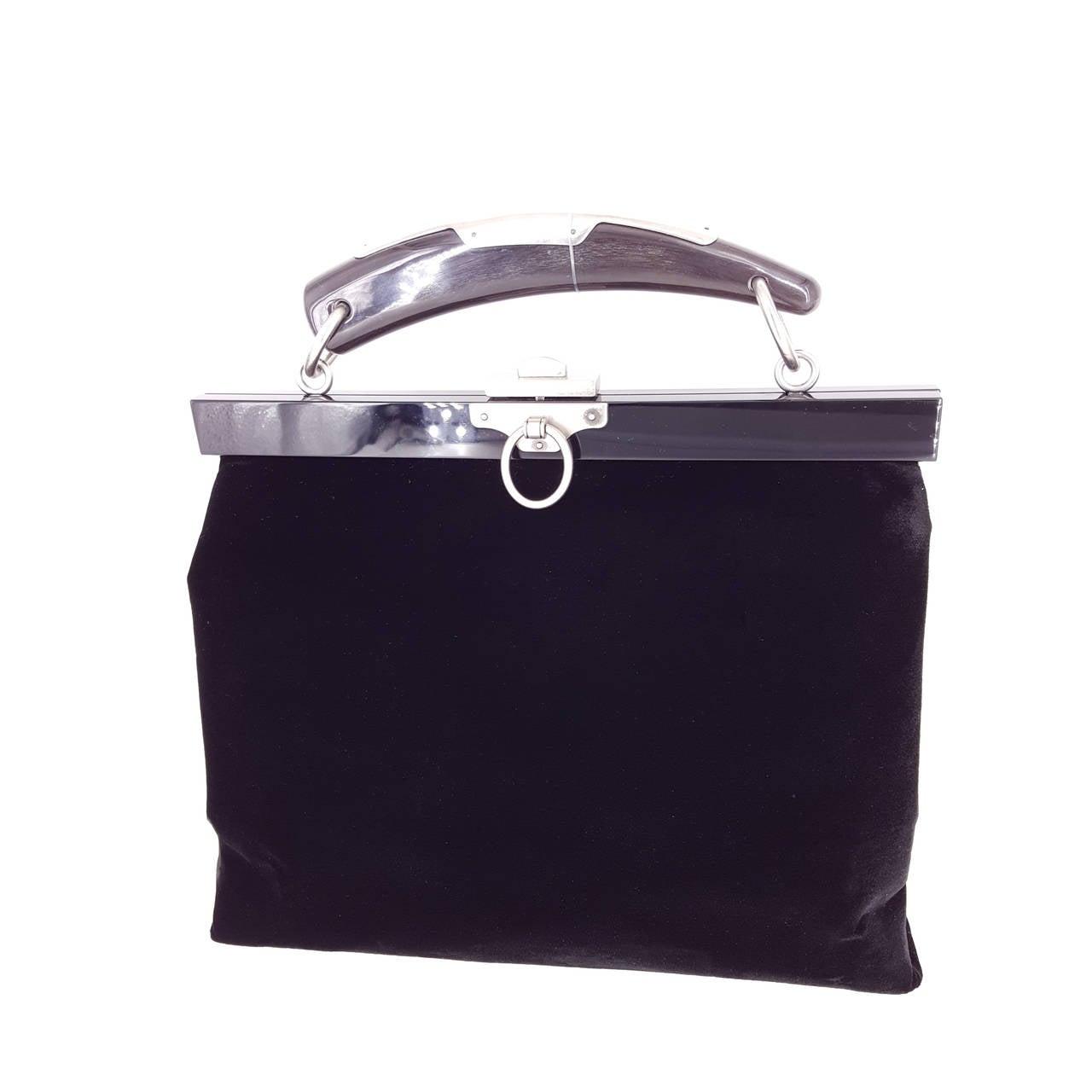 YSL Limited Edition Black Velvet Mombasa Handbag With Lucite Horn Handle.